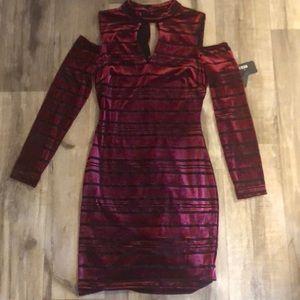 Guess Cold Shoulder Velvet Striped Dress Size 2